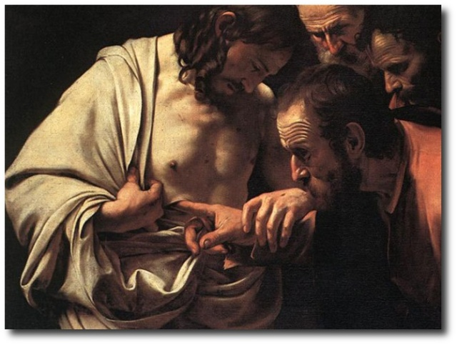 "John 20:27 ""Thomas, reach hither thy finger... be not faithless, but believing."""