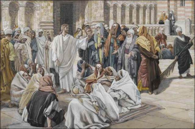 Jesus is asked questions in the temple
