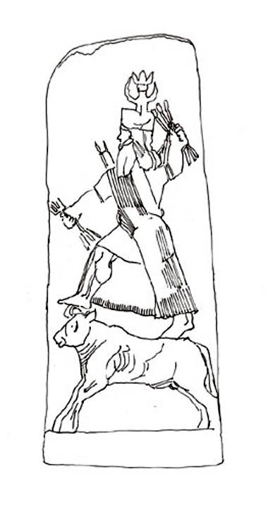 Drawing of a stele showing Baal, the Canaanite storm god, standing on the back of a bull. Reunion des Musee Nationaux-France.
